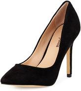 Neiman Marcus Prestige Suede Pointed-Toe Pump, Black