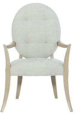 Bernhardt Savoy Place Tufted Upholstered Arm Chair in Gray (Set of 2