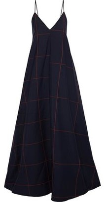Jil Sander Checked Wool And Mohair-blend Gown