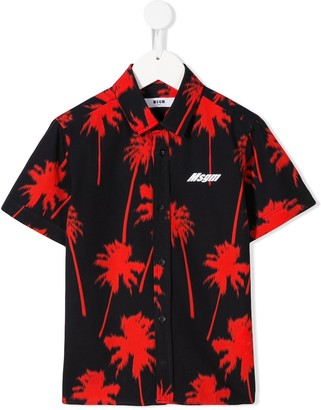 MSGM Kids palm tree print shirt