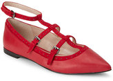 French Connection Tessi Red Geklin Studded T-Strap Pointed Toe Flats