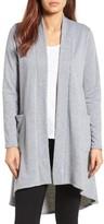 Bobeau Petite Women's High/low Fleece Knit Cardigan