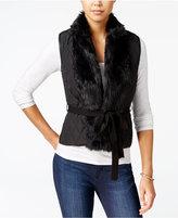 XOXO Juniors' Faux-Fur-Trim Belted Vest