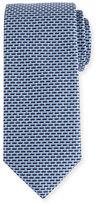 Canali Neat Micro-Geometric Silk Tie, Blue/Gray