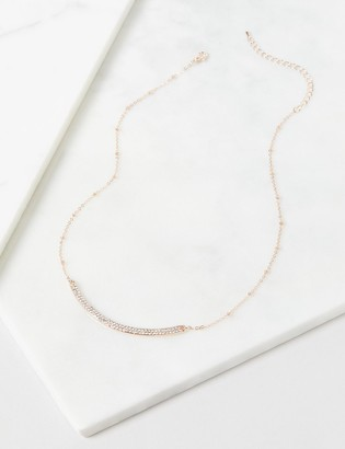 Lane Bryant Sparkling Curved Bar Necklace