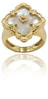 Buccellati 18K Yellow Gold & Mother Of Pearl Ring Size 6