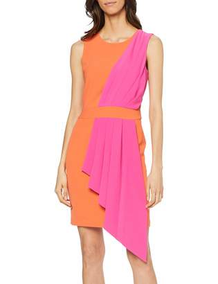 Silvian Heach Women's Burouba Party Dress Orange/Fucsia Uo1 10 (Size: Small)