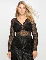 ELOQUII Plus Size Lace V Neck Body Suit