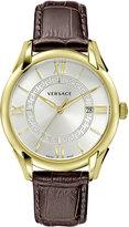 Versace 42mm Apollo Watch w/ Calfskin Leather Strap, Golden/Silvertone/Brown