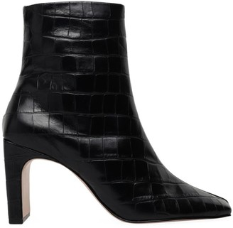 Schutz Marion Square-Toe Croc-Embossed Leather Boots