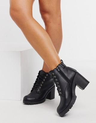 New Look chunky heeled lace up boot in black
