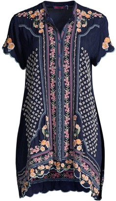 Johnny Was Moji Floral-Embroidered Boho Tunic