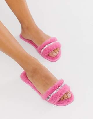 Asos Design DESIGN Zadie embellished fluffy slider slippers in pink