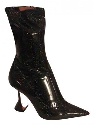 Amina Muaddi Black Patent leather Heels