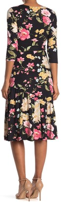 WEST KEI Floral 3/4 Sleeve Jersey Midi Dress