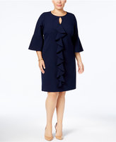 Jessica Howard Plus Size Ruffled Bell-Sleeve Shift Dress
