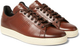 Tom Ford - Warwick Perforated Burnished-leather Sneakers