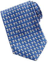Salvatore Ferragamo Bunny and Cat-Print Tie, Blue
