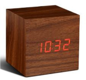 GINGKO Walnut Cube with Red LED Click Clock - 6.8x6.8cm | wood | red LED