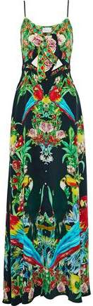 Camilla Toucan Play The Front Crystal-Embellished Knotted Printed Silk Maxi Dress