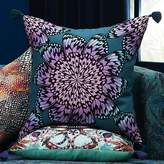 """CB2 20"""" Butterfly Wheel Teal With Tassels Pillow With Feather-Down Insert"""