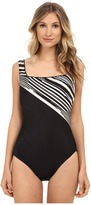 Miraclesuit Barcode Square Neck One-Piece