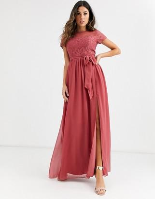 Little Mistress short sleeve eyelash lace sweetheart bodice maxi dress-Pink
