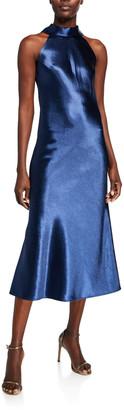 Galvan Sienna Glossy Metallic Satin Halter Dress