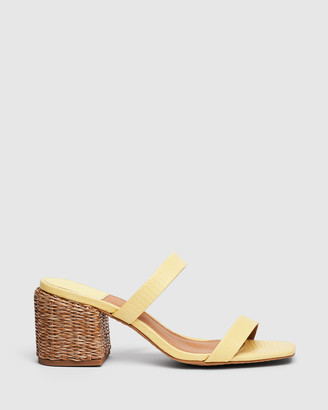 cherrichella - Women's Yellow Open Toe Heels - Whisper Mules - Size One Size, 38 at The Iconic