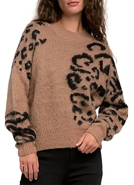 Elan International Leopard Cropped Sweater