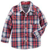 Osh Kosh Boys 4-8 Red Plaid Button-Down Poplin Shirt