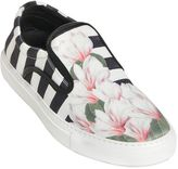 Mother of Pearl Stripe & Floral Satin Slip On Sneakers