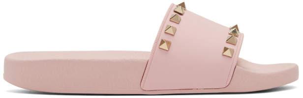 Valentino Pink Garavani Rockstud Pool Slides