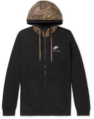 Alyx + Nike Shell-Trimmed Fleece-Back Cotton-Blend Jersey Zip-Up Hoodie