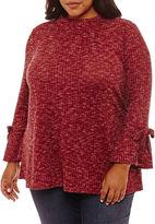 Boutique + + Long Sleeve Mock Neck Blouse-Plus