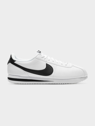 Nike Mens Basic Cortez Sneakers in White Black Leather