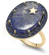 Andrea Fohrman Galaxy 14ct Yellow Gold, Black Rhodium Oval with Lapis and Rutilated Quartz Blue Sapphire Trim and Gold Star Element Inlay Ring Size - N 50018-LRBS-14YB N
