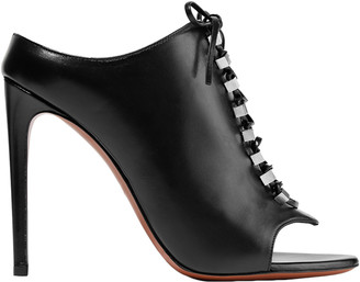 Alaia 110 Lace-up Embellished Leather Mules