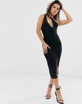 Asos Design DESIGN one shoulder lace midi dress with slash front detail