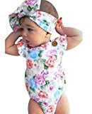 Newborn Baby Girls Headband +Floral Print Jumpsuit Bodysuit BY Fheaven (6M)