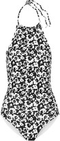 Marysia Swim Mott Printed Scalloped Halterneck Swimsuit - Black