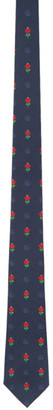 Gucci Navy and Red Silk Flowers Double G Tie