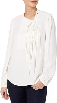 BCBGMAXAZRIA Women's Long Sleeve Tie Front Blouse