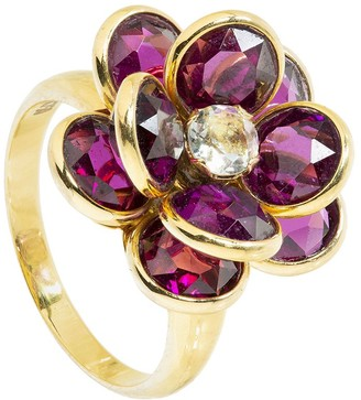 GUITA M 18kt Yellow Gold, Rhodolite And Citrine Flower Ring