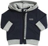 HUGO BOSS Zip Up Cotton Hooded Sweatshirt