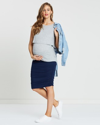 Angel Maternity Women's Navy Pencil skirts - Maternity Bodycon Side Ruching Skirt - Size One Size, XS at The Iconic