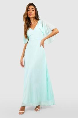 boohoo Chiffon Cape Sleeve Maxi Bridesmaid Dress