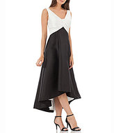 Carmen Marc Valvo Two Tone V-Neck Sleeveless Hi-Low Gown