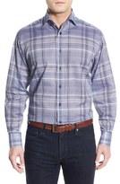 Thomas Dean Regular Fit Plaid Sport Shirt (Regular & Tall)