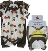 Buster Brown Baby Boys Brown Camo Car Print Pants Bib Booties Bodysuit Set 3-6M